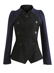 Band-Collar-Double-Breasted-Woolen-Jacket