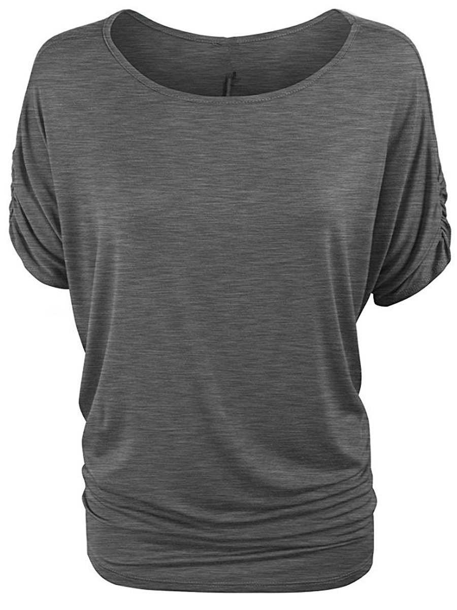 Basic Round Neck  Plain Short Sleeve T-Shirt