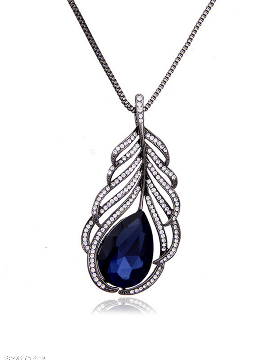 Feather Shape Imitated Crystal Necklace