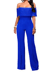 Off-Shoulder Decroative Lace Plain Jumpsuit