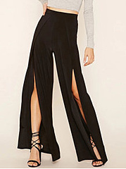 High-Slit-Plain-Wide-Leg-Casual-Pants