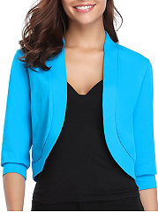 Collarless  Plain  Three-Quarter Sleeve Cardigans