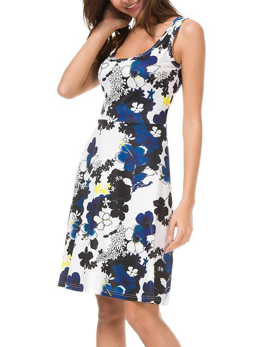Round Neck Special Floral Printed Skater Dress