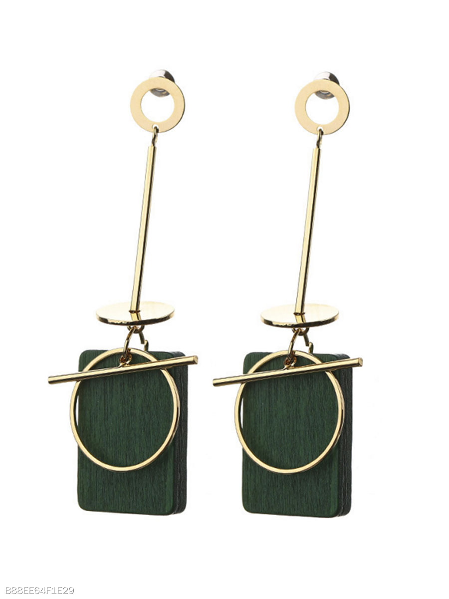 Wood Pendant Simple Stylish Earrings