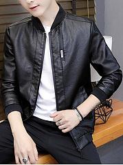 Band-Collar-PU-Leather-Pocket-Men-Jacket