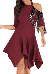 Round Neck  Fringe  Plain Skater Dress