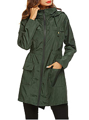 Hooded  Drawstring Zips  Plain  Long Sleeve Trench Coats