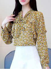 Autumn Spring  Polyester  Women  Bowknot  Printed  Long Sleeve Blouses