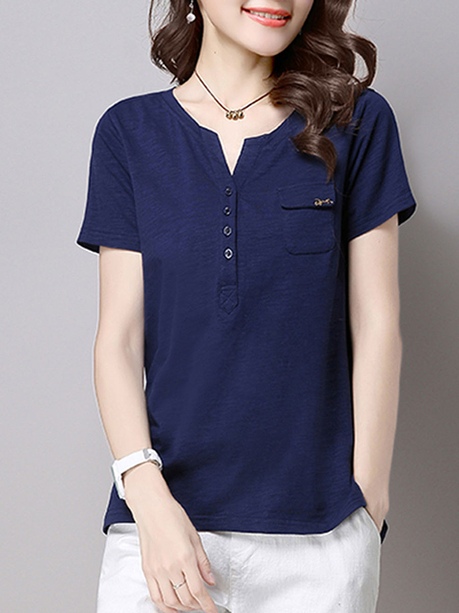 Split Neck Flap Pocket Plain Short Sleeve T-Shirt