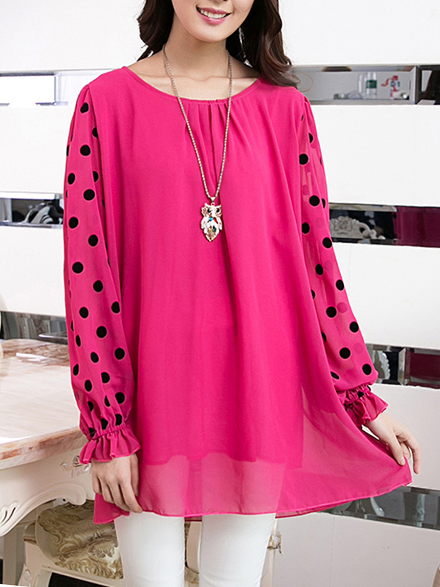 Polka Dot Hollow Out Round Neck Blouse