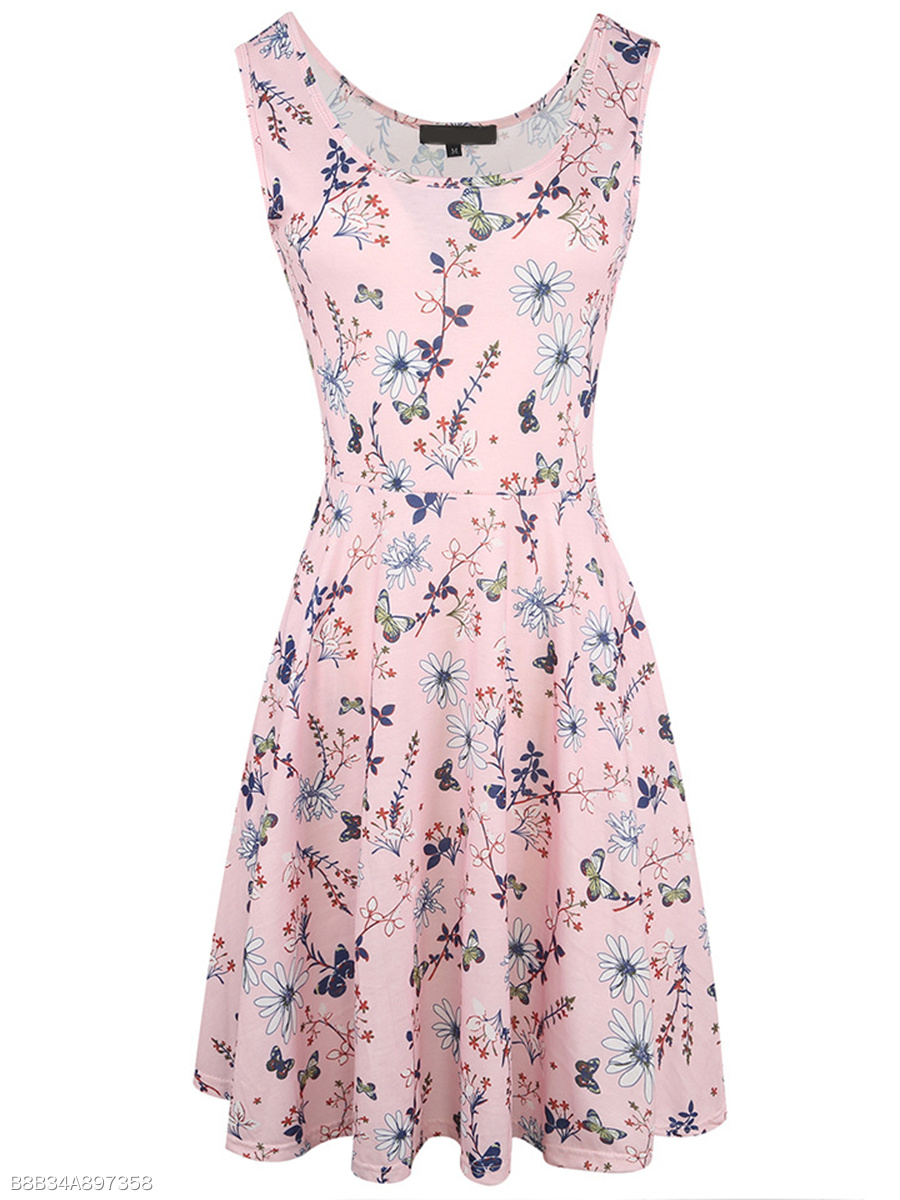 Lovely Floral Printed Round Neck Skater Dress