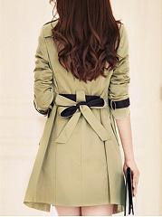 Notch Lapel  Double Breasted  Color Block Plain  Long Sleeve Trench Coats