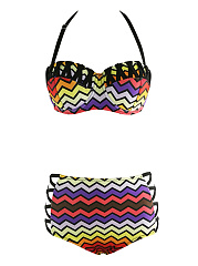 Halter-Hollow-Out-Zigzag-Striped-Swimwear