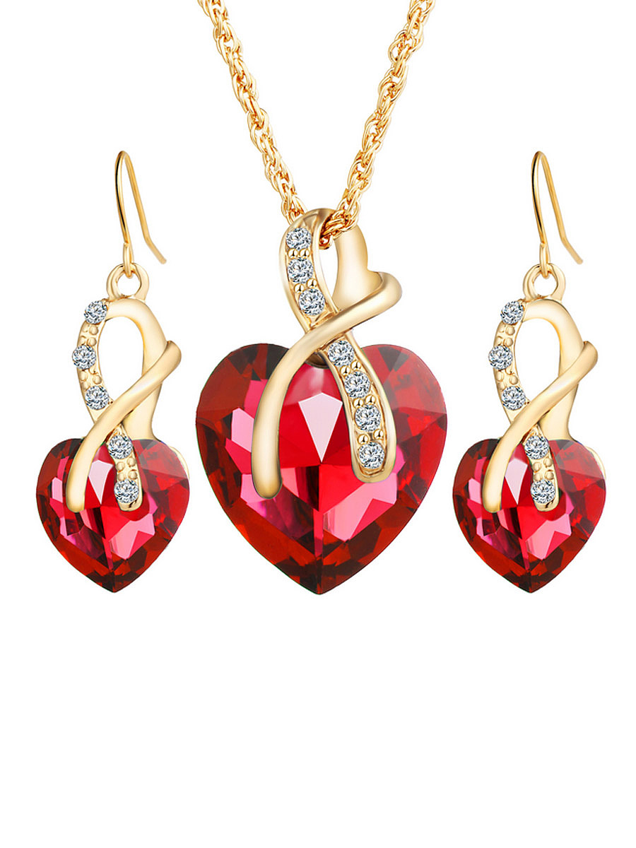 Heart-Shaped Austria Crystal Necklace And Earring