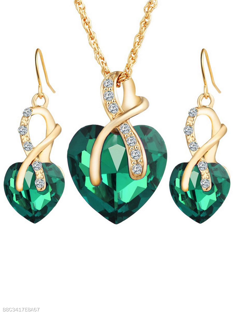 Heart-Shaped Austria Imitatedd Imitated Crystal Necklace And Earrings