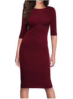 Round Neck  Plain  Cotton Blend Bodycon Dress