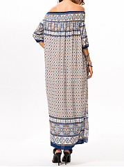 Bohemian Off Shoulder High Slit Loose Maxi Dress