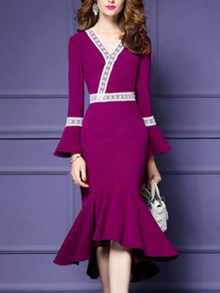 V-Neck Bell Sleeve Decorative Lace Mermaid Maxi Dress