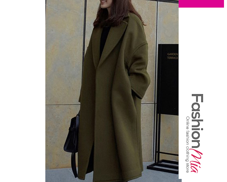 Fold-Over Collar Plain Long Sleeve Coats - $28.95