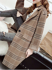 Lapel  Single Button  Plaid  Long Sleeve Coats