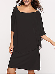 Round Neck  Midi Fashion Plain Shift Dress