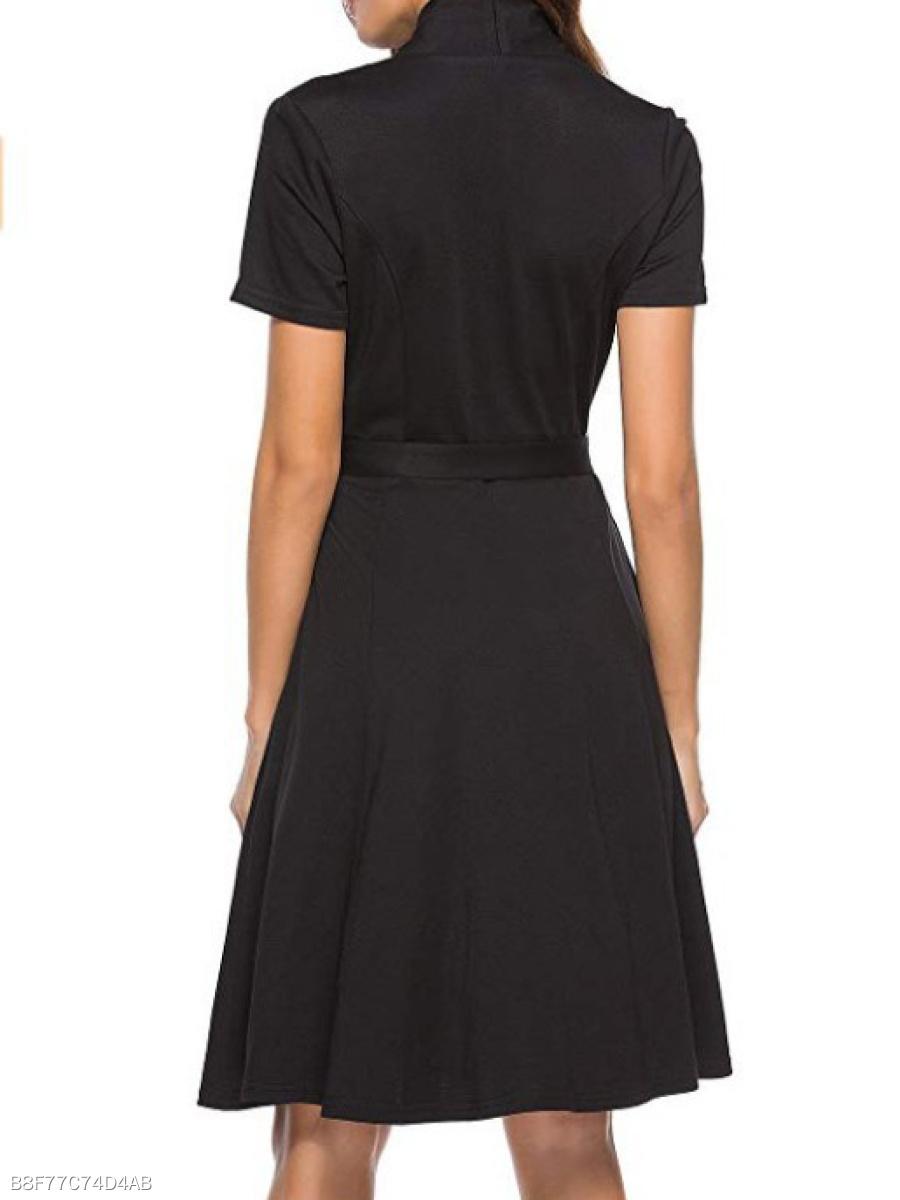 3e68504a8b V-Neck Belt Decorative Button Plain Skater Dress - fashionMia.com