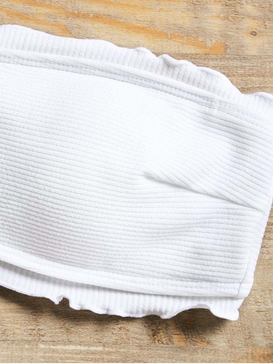 Ribbed Lettuce Trim Bandeau Bikini Swimwear