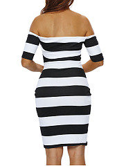 Classical Black White Off Shoulder Striped Bodycon Dress