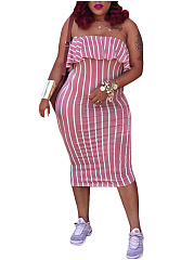 Off Shoulder  Vertical Striped Bodycon Dress
