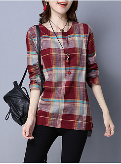 Round Neck  Plaid Blouse