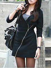 Hooded Zips Plain Mini Bodycon Dress