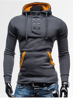 Double Breasted Kangaroo Pocket Men Hoodie