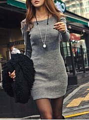 Open Shoulder Plain Mini Bodycon Dress