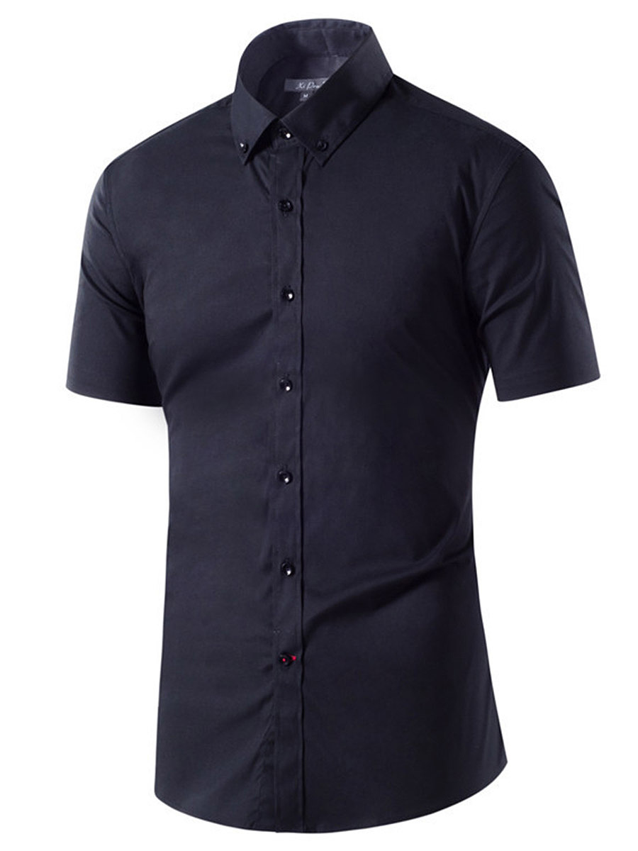 Button Down Collar Plain Short Sleeve Men Shirts