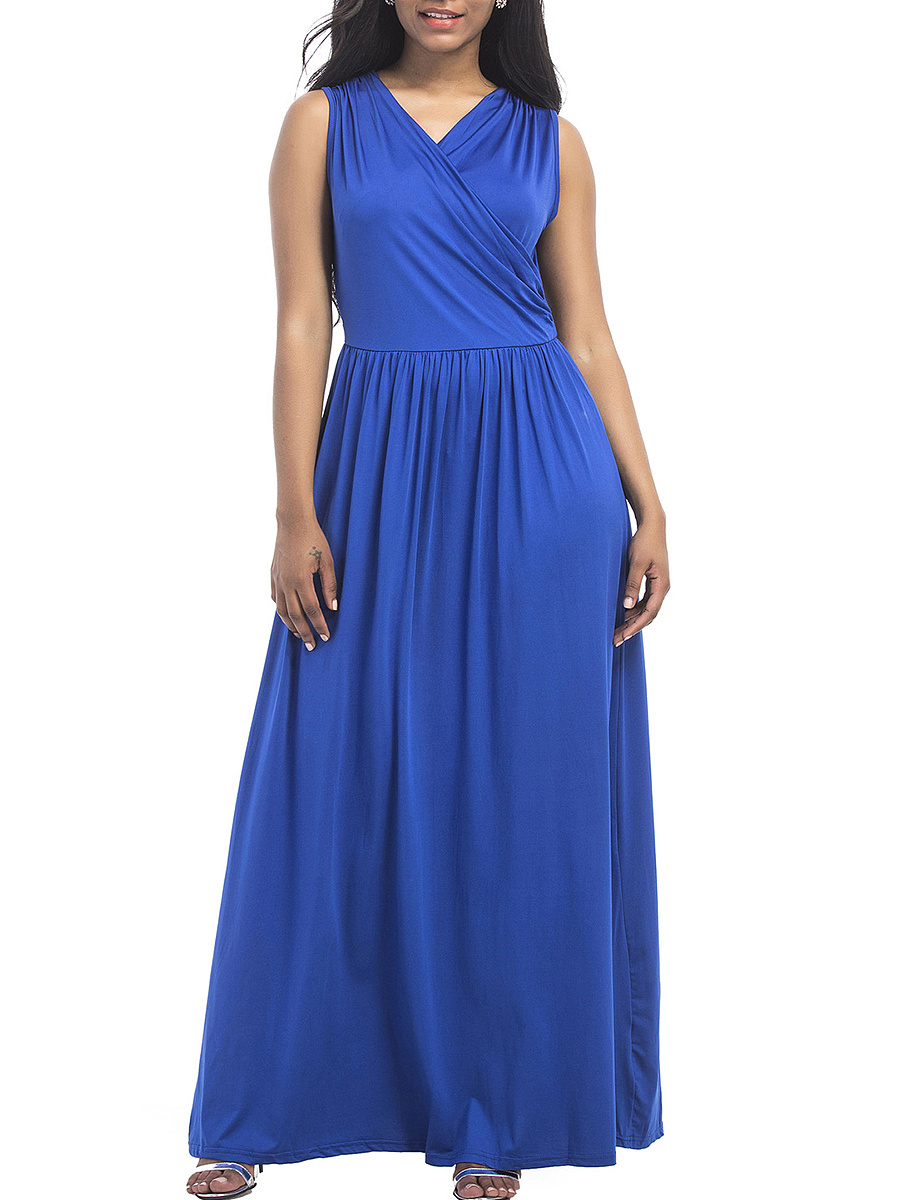 V-Neck Plain Swing Maxi Dress