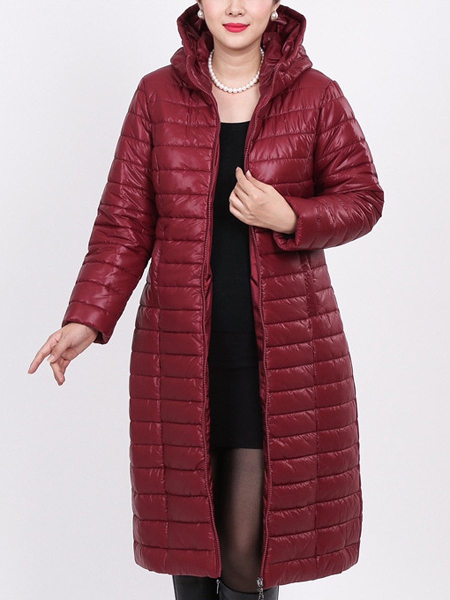 Hooded  Plain Solid Zipper Coats