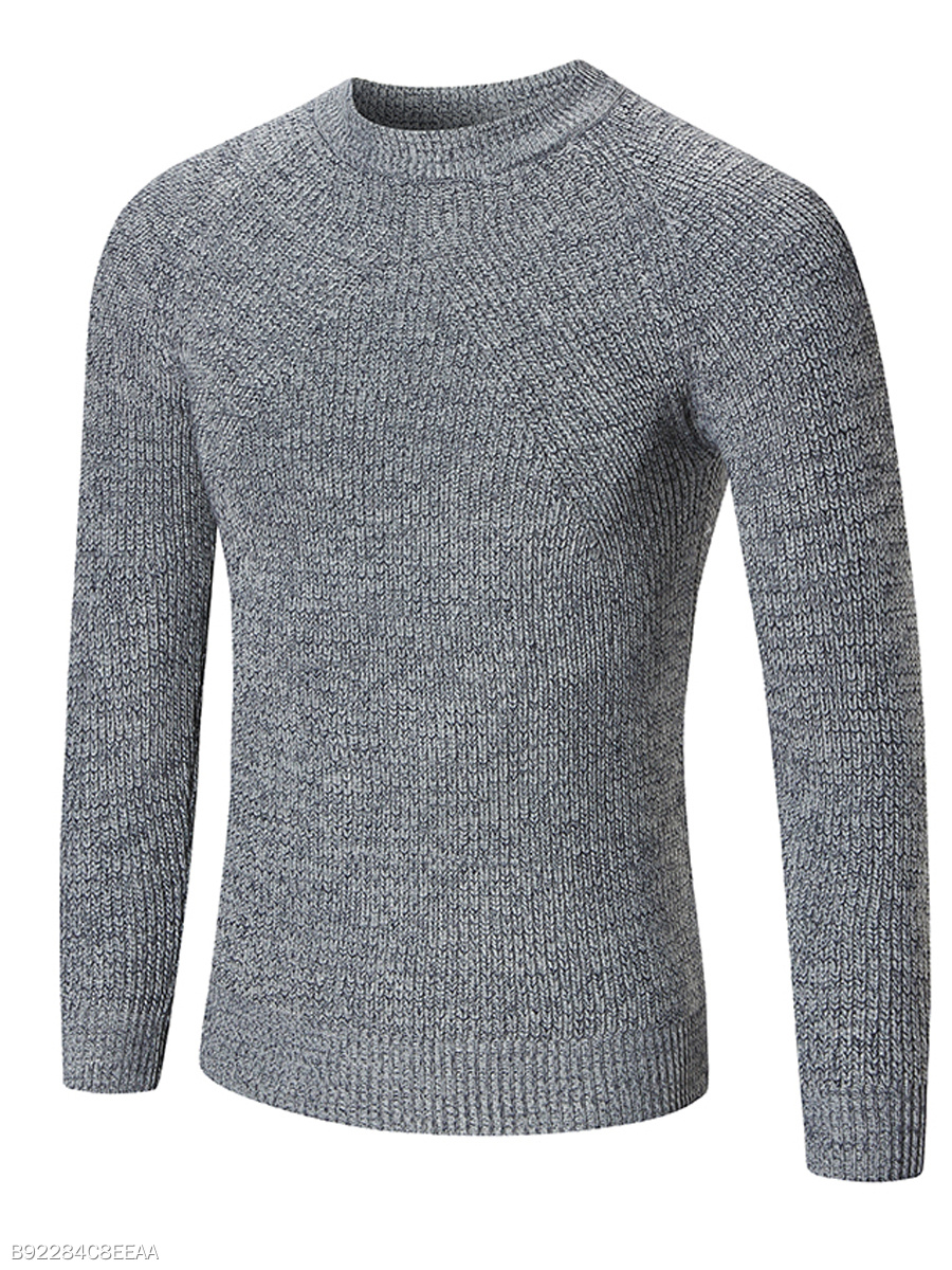 Crew Neck Plain Men'S Sweater