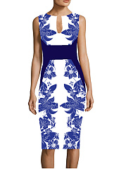 V Neck  Floral Printed Bodycon Dress