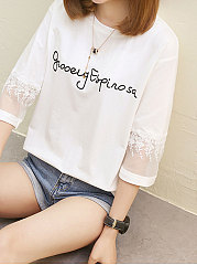 Summer  Polyester  Women  Round Neck  Decorative Lace  Letters Short Sleeve T-Shirts