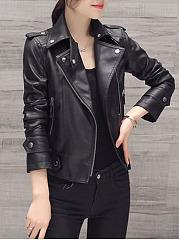Black-Lapel-Zips-PU-Leather-Biker-Jacket