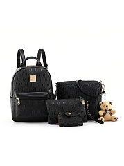 Four Pieces Luxury Teddy Bear Black Backpack