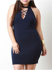 V-Neck  Plain Plus Size Bodycon Dress