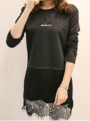 Autumn Spring  Blend  Women  Round Neck  Asymmetric Hem Decorative Lace Patchwork  Letters Long Sleeve T-Shirts