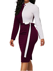Band Collar  Slit  Belt Loops  Colouring Bodycon Dress