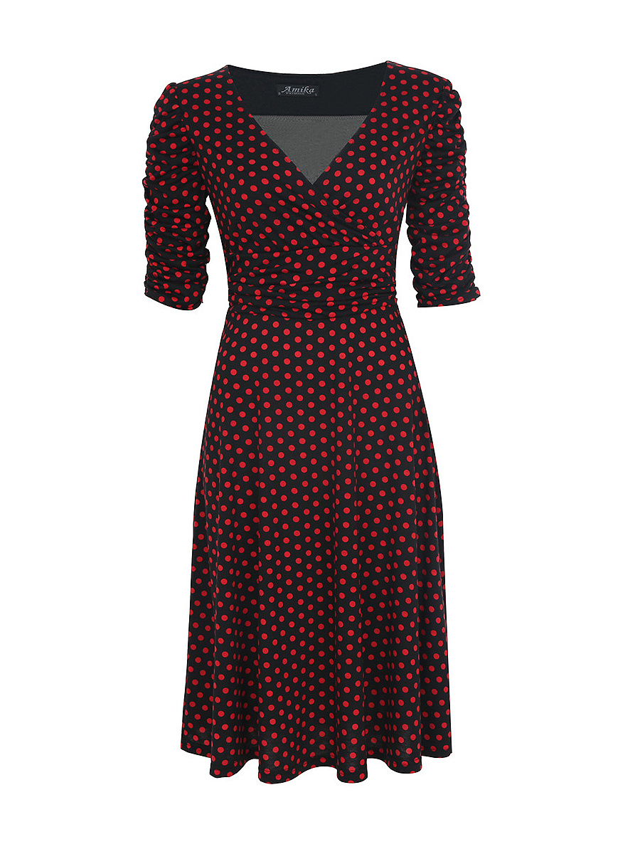 Deep V-Neck Polka Dot Plus Size Skater Dress