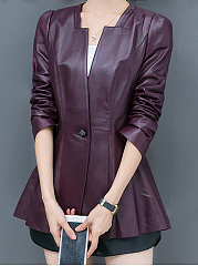 Collarless-Single-Button-Plain-PU-Leather-Jacket