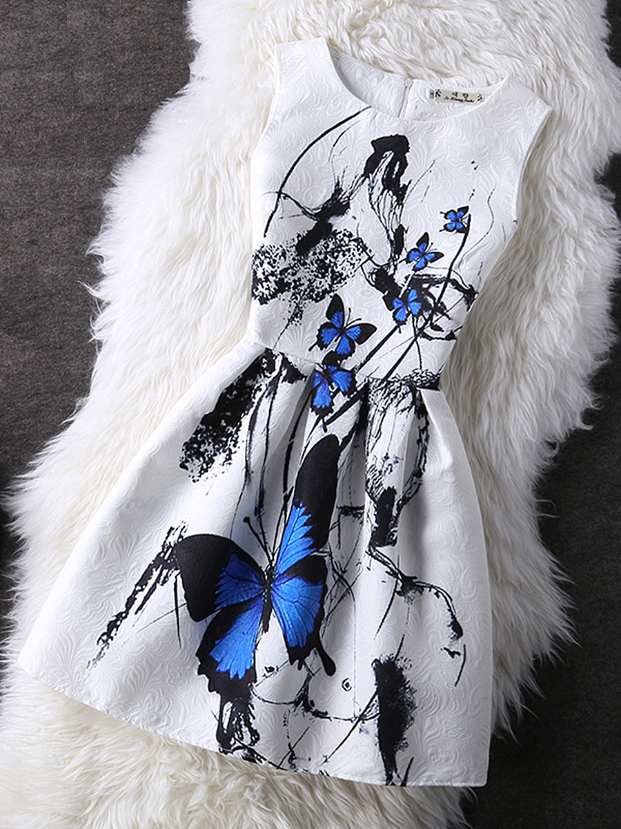 Jacquard Round Neck Butterfly Printed Skater Dress