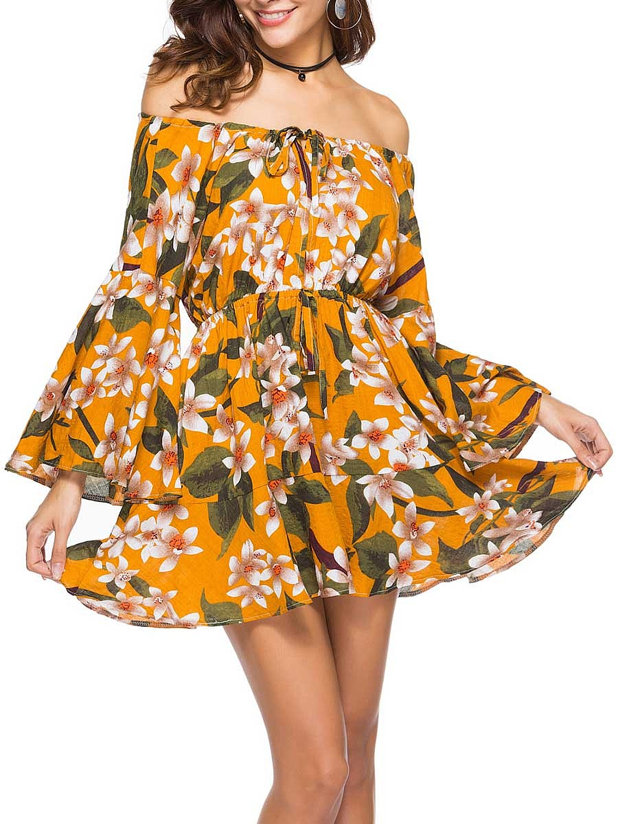 Casual Vacation Floral Printed Bell Sleeve Off Shoulder Skater Dress