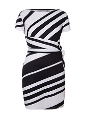 Round Neck  Striped Plus Size Bodycon Dresses