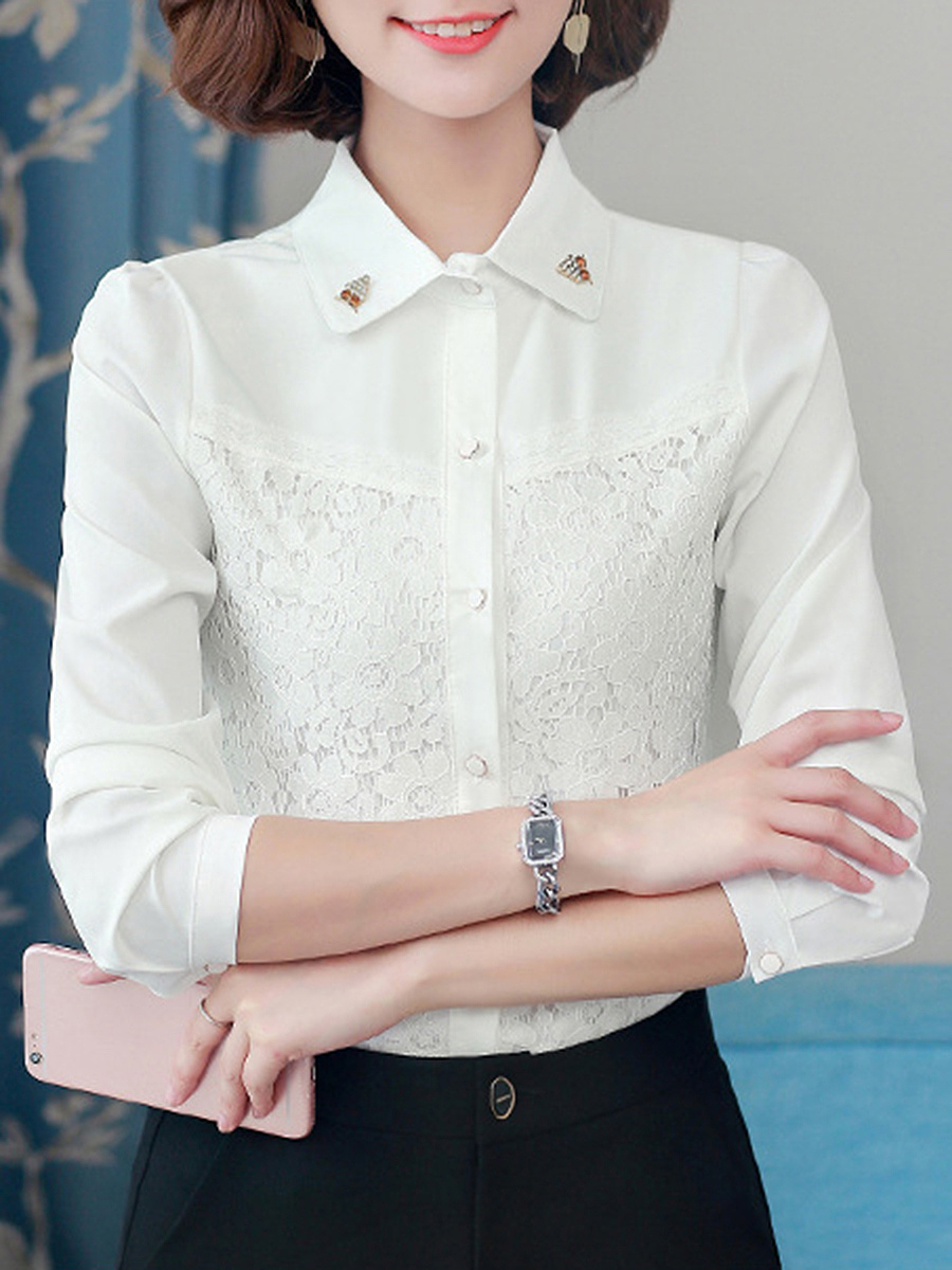 Solid Long Sleeve T-Shirt With Owl Brooch